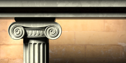 Ancient greek temple, ionic style marble pillar detail, blur stone wall background. 3d illustration. Wall mural