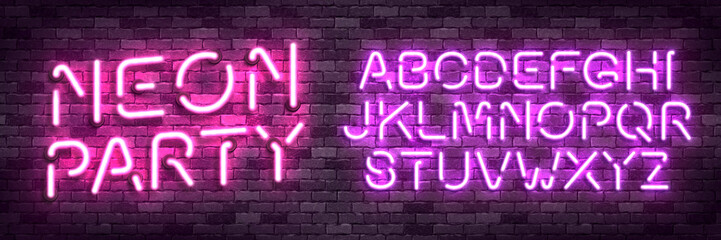 Vector realistic isolated neon alphabet font with pink and purple color for template decoration and covering on the wall background.