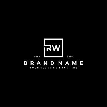 set letter RW logo design vector