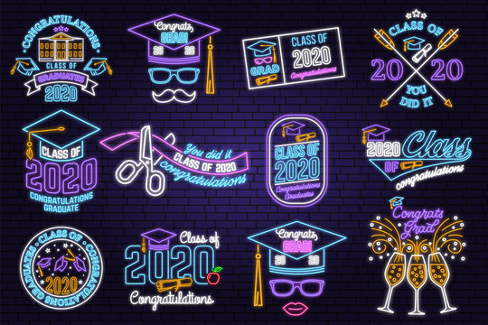 Set of Vector Class of 2020 neon bright signboard, light banner Neon typography design with graduation cap, diploma, mustache. Graduation design with hut and text Class of.