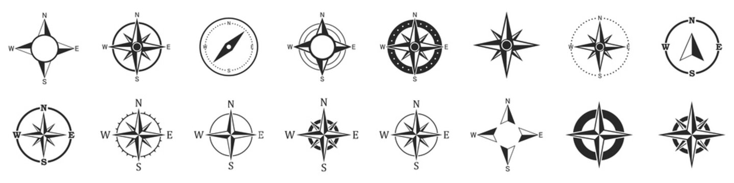 Compass icons. Set of vector compass icons.