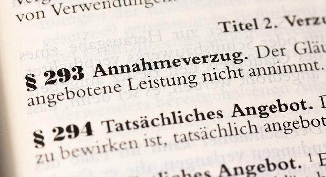 Annahmeverzug, Gläubigerverzug in § 293 BGB