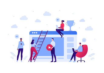 Fototapeta Social media blogger and online education cource concept. Vector flat person illustration. Team of people making video. Trophy success, laptop and smartphone sign. Design for banner, web, infographic