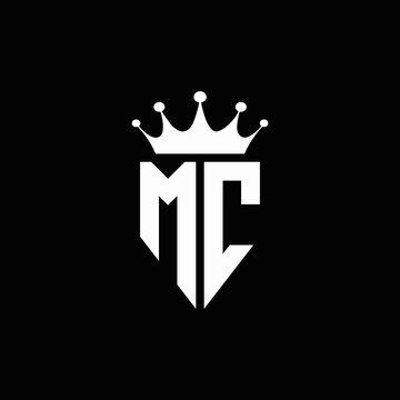 MC logo monogram emblem style with crown shape design template