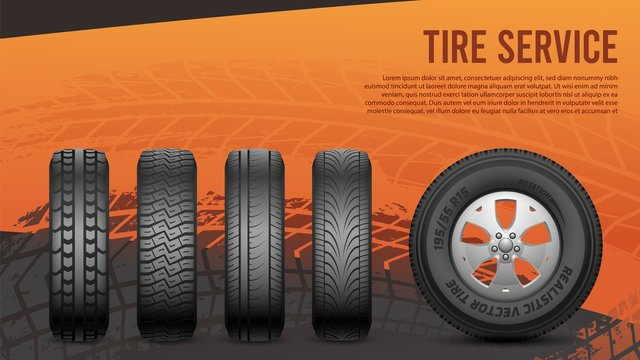 Tire service banner. Tires, car wheels poster. Autos repair, wheel replacement vector illustration. Tyre rubber business, auto repair service