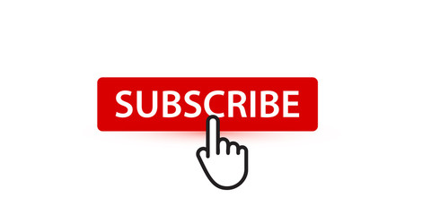 Subscribe red button with finger pointer, button for subscribers and followers of digital content, vector UI element