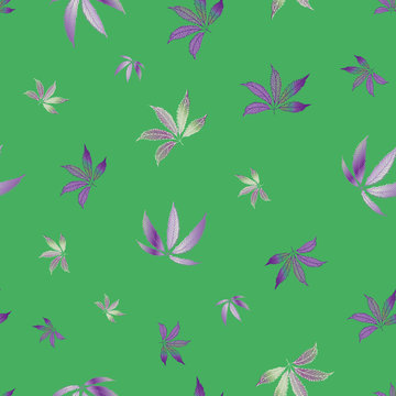 Cannabis leaves seamless vector pattern background. Hand drawn green and purple hemp foliage backdrop. Elegant botanical marijuana design. All over print for wellness, health concept,packaging, print