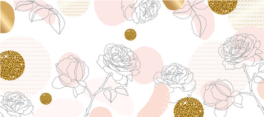 Luxury gold flower line arts background.  Japanese pattern background vector. Luxury Gold geometric cover design for invitation, wallpaper, cards, fabric and print. Vector illustration.