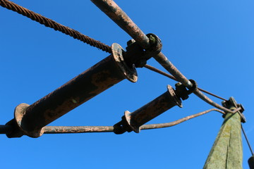Low Angle View Of Rusty Metallic Cable On Pole