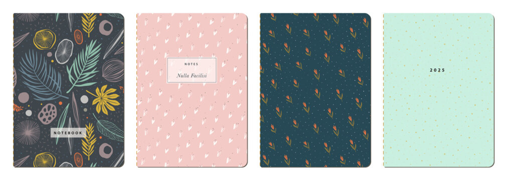 Universal abstract and floral templates. Applicable for notebook covers, planners, brochures, books, catalogs etc. Seamless patterns and masks used, easy to re-size.