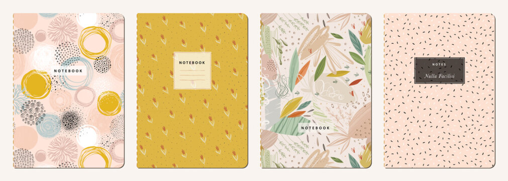 Cover page templates. Universal abstract layouts. Applicable for notebooks, planners, brochures, books, catalogs etc. Seamless patterns and masks used, easy to re-size.