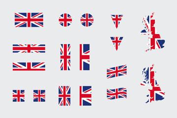 United Kingdom British Flag Icon Different Shapes Flat Vector Set