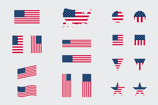USA American Flag Icon Different Shapes Flat Vector Set