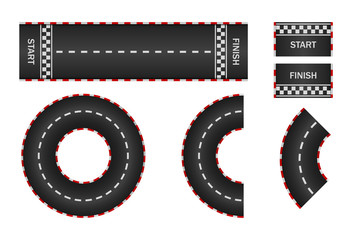 Infinity race. Track with start, finish and line on road. Curve and circle racetrack. f1 in street. Highway, asphalt, drift of car icon. 3d traffic background. Set of roadways for sport kart. Vector