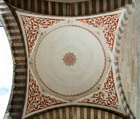 Vaulted ceiling at the Blue Mosque, Istanbul, Turkey