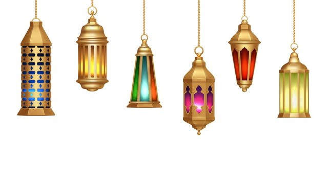 Oriental lamps. Arab lanterns hang on gold chains. Isolated realistic decorative lighting. Ramadan vector banner. Illustration lantern and lamp light muslim