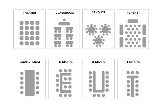 A set of schemes for arranging seats. The chairs and the tables in meeting rooms, conference halls and other places. Vector.