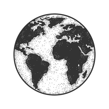 planet Earth globe sketch engraving vector illustration. T-shirt apparel print design. Scratch board imitation. Black and white hand drawn image.