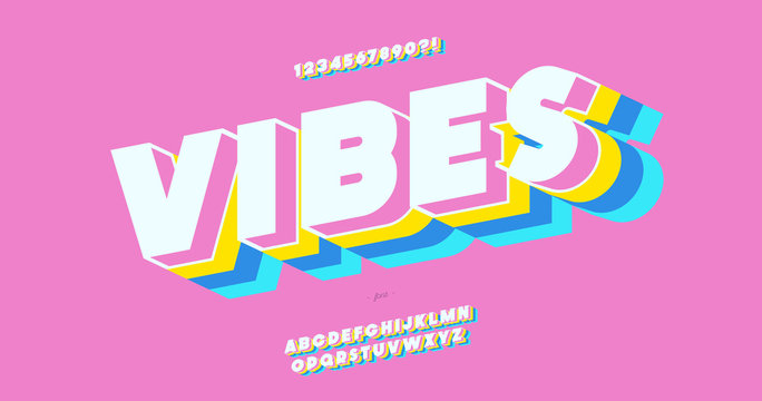Vector vibes 3d bold font colorful style trendy typography for decoration, logo, party poster, t shirt, book, card, sale banner, printing on fabric, stamp. Cool alphabet. Modern typeface. 10 eps