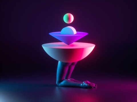 3d render, abstract surreal fashion concept, funny contemporary art. Colorful geometric objects and black legs isolated on black background. Modern minimal sculpture illuminated with neon light
