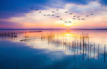 amanecer de colores sobre el lago en calma