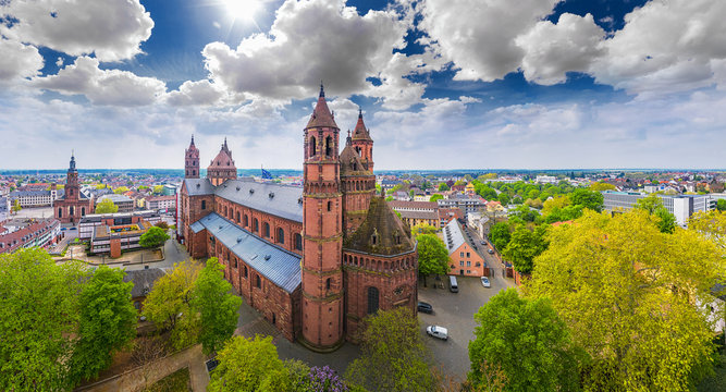 Aerial shot of Dom St. Peter in Worms Germany