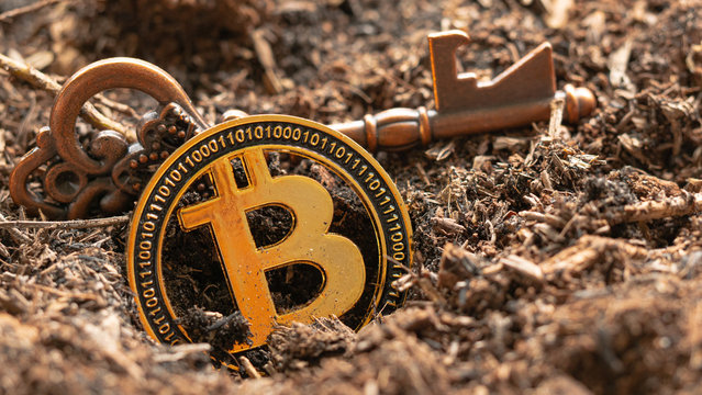 Key and digital money bitcoin coin   In the ground. Concept   halving  bitcoin.