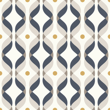 Ogee seamless vector curved pattern, abstract geometric background. Mid century modern wallpaper pattern.