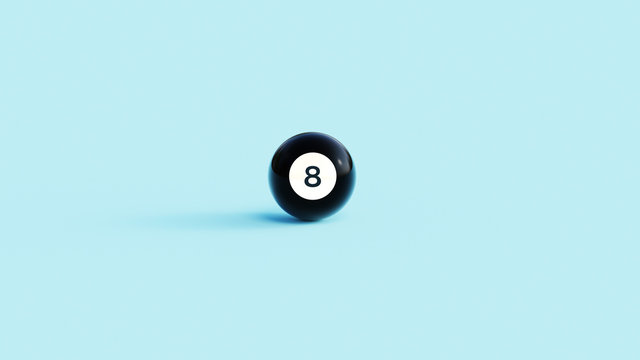 Pool ball, magic 8 ball 3d illustration of luck concept