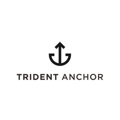 trident anchor logo icon vector designs