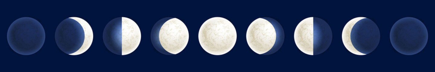 Moon phases illustration, celestial space planet poster background
