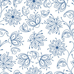Poster Floral black and white Seamless pattern. Floral blue outline on white isolated background vector illustration