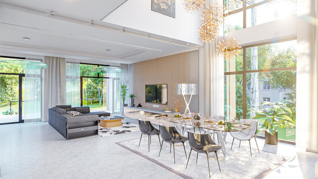living room interior 3d illustration