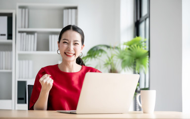 Obraz Excited female feeling euphoric celebrating online win success achievement result, young woman happy about good email news, motivated by great offer or new opportunity, passed exam, got a job - fototapety do salonu