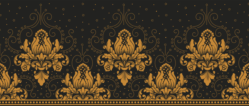 Vector damask border element and page decoration. Classical luxury border decoration pattern. Seamless texture for textile, wrapping etc. Vintage exquisite floral baroque template