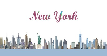 Wall Mural - New York city skyline buildings appearing animation