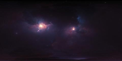 Fototapete - 360 degree stellar system and nebula. Panorama, environment 360° HDRI map (15000x7500). Equirectangular projection, spherical panorama