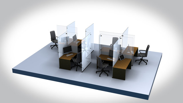 social distancing in the office many tables - 3D graphic animation on a white background