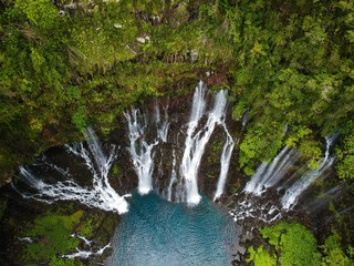 Bird eye view of the grand galet waterfall in reunion island