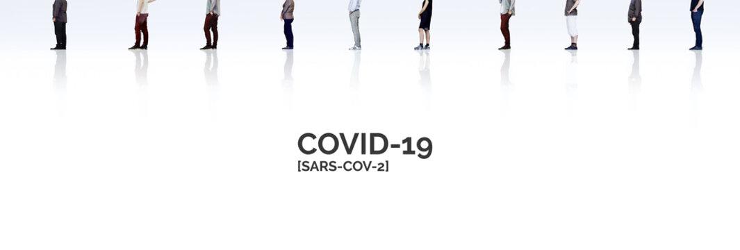wartende Menschenschlange beim Einkaufen in Zeit von Covid-19 und der Coronakrise