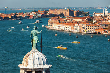 Aerial view of Grand Canal in Venice, Italy.