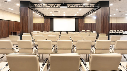 Empty conference room for presentations with screen