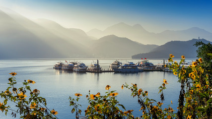 Wall Mural - Sun Moon Lake at sunrise in Nantou, Taiwan.