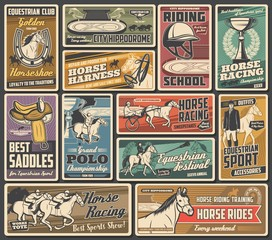 Horse races, jockey polo and equestrian sport championship cup, vector vintage posters. Horse racing rider equipment saddles, whips and harness store, horse chariots tournament and riding school