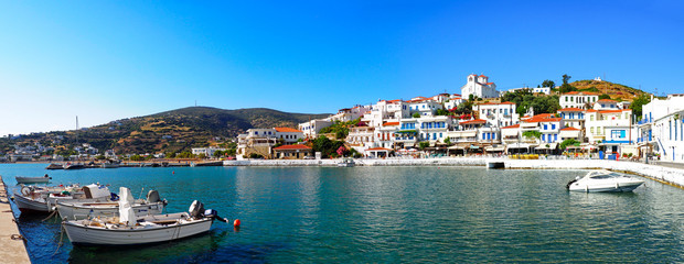 panoramic view of the fishing port of Batsi, on the island of Andros, famous Cyclades island in the heart of the Aegean Sea