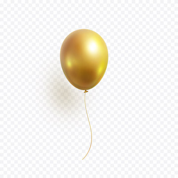 Balloon isolated on transparent background. Vector realistic gold, bronze or golden festive 3d helium ballon template for anniversary, birthday party design