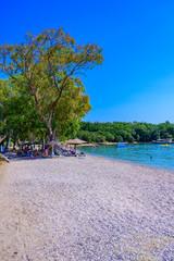 Fototapete - Dassia Beach with crystal clear azure water in beautiful landscape scnery - paradise coastline of Corfu island, Ionian archipelago, Greece.