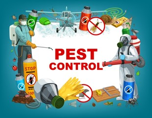 Pest control service vector poster, disinfestation and deratization sanitary. Domestic insects ticks and cockroach disinfection, agrarian bugs and louse fumigation, rats and mouse extermination