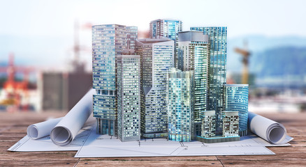 Skyscrapers on the blueprint. Construction concept. 3d illustration