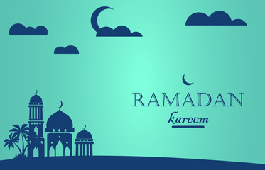 Wall Murals Green coral background design for ramadan eid mubarak